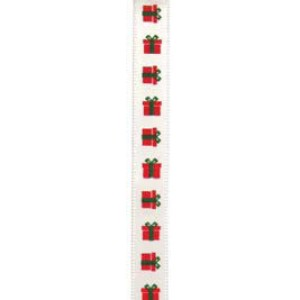 10mm Christmas Boxes Ribbon x 20m