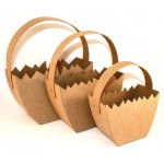 Paper Mache Egg Basket with Handles - Set of 3