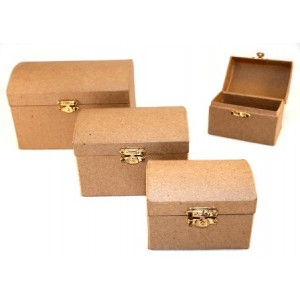 Paper Mache Hinged Treasure Chests